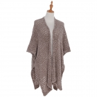 AO6140 Soft Knitted Net Mesh Cape, Khaki