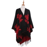 AO6144 Flowers Print Cape and Shawl, Black&Red