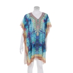 AO6156 Bright Color Python Pattern Poncho, Blue