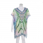 AO6157 Abstract Pattern Poncho, Green