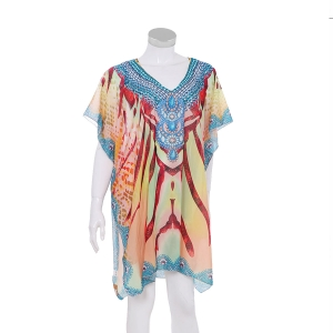 AO6157 Abstract Pattern Poncho, Orange