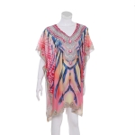 AO6157 Abstract Pattern Poncho, Pink