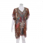 AO6158 Abstract & Leopard Pattern Poncho, Brown