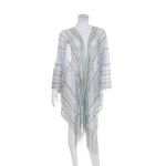 AO6159 Sheer Multi Color Summer Cover-Up, Blue