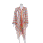 AO6159 Sheer Multi Color Summer Cover-Up, Rainbow