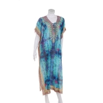 AO6162 Abstract & Python Pattern Long Summer Poncho, Blue