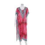 AO6162 Abstract & Python Pattern Long Summer Poncho, Pink