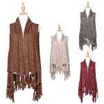 AO624 KNITTED WRAP WITH TASSELS