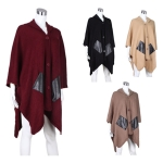 AO685 HOODED BUTTONED CAPE W/ FAUX LEATHER POCKETS
