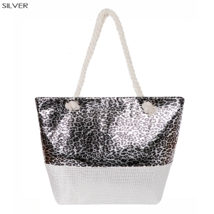 AO8002 Leopard Pattern Beach Tote Bag, Silver
