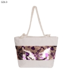 "AO8005 ""LOVE"" pattern Sequin Summer Tote Bag, Gold"