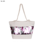 "AO8005 ""LOVE"" pattern Sequin Summer Tote Bag, Silver"