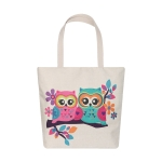 AO8023 Owl Couple Pattern Canvas Tote Bag