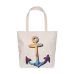 AO8028 Color Block Anchor Pattern Canvas Tote Bag