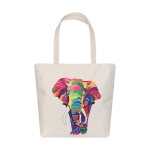 AO8036 Elephant Pattern Canvas Tote Bag