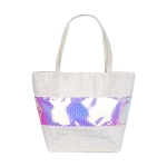 AO857 Iridescent Fish Scale Pattern Tote Bag, Silver
