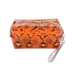 AO890 Neon Color & Python Pattern Cosmetic/Travel Pouch, Orange