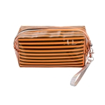 AO891 Neon Color & Stripes Pattern Cosmetic/Travel Pouch, Orange