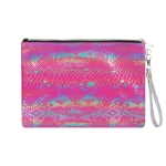 AO894 Multi Color Python Pattern Cosmetic Bag, Fuchsia