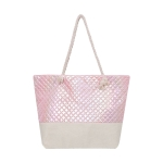 AO899 Iridescent Embossed Tote Bag w/Rope Handle, Pink