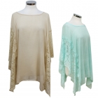 AP7420 Solid Cover Up W/ Lace