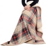 B-03 Plaid Sherpa Fleece Throw Blanket - Beige