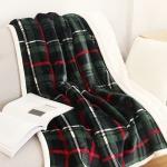 B-03 Plaid Sherpa Fleece Throw Blanket - Green