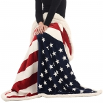 B-04 US Flag Sherpa Fleece Throw Blanket