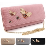 B0737 Corduroy Bee Clutch