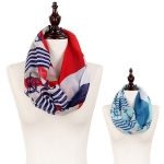 C8303 Anchor & ship wheel stripe infinity scarf