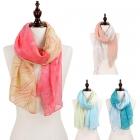 C8304 Starfish & wave print oblong scarf