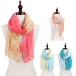 C8304 Starfish & wave print oblong scarf