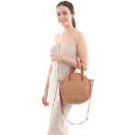 CB0803 Round Straw Bag w/Faux Leather Strap, Taupe