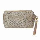 CB0807 Glitter Python Cosmetic Bag, Gold