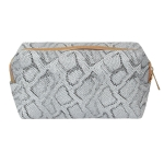 CB0807 Glitter Python Cosmetic Bag, Silver