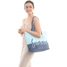 "CB0813 Two-tone Lettering ""Summer"" Beach Tote Bag, Blue"