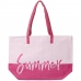 "CB0813 Two-tone Lettering ""Summer"" Beach Tote Bag, Pink"
