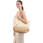 "CB0813 Two-tone Lettering ""Summer"" Beach Tote Bag, Tuape"