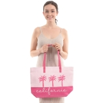 "CB0814 Two-tone Lettering"" California"" Beach Tote Bag, Pink"