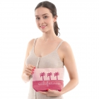 "CB0815 Two-tone Lettering ""California"" Cosmetic Bag, Pink"