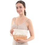 "CB0816 Two-tone Lettering ""Summer"" Cosmetic Pouch, Tuape"