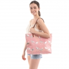 CB0822 Solid Color Crane Foil Beach Bag, Pink&Silver