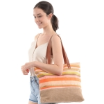 CB0823 Multi Color Stripes Straw Beach bag