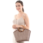 CB0853 Small Checker Pattern w/Bamboo Handle Bag