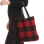 CB0921 Buffalo Plaid W/Teddy Bear Feel Tote Bag, Red