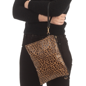 CB0924 Cheeta Pattern Clutch/Cross-body Bag