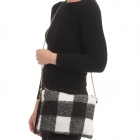 CB0926 Buffalo Plaid W/Teddy Bear Feel Clutch/Cross-body Bag, Black