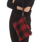 CB0926 Buffalo Plaid W/Teddy Bear Feel Clutch/Cross-body Bag, Red