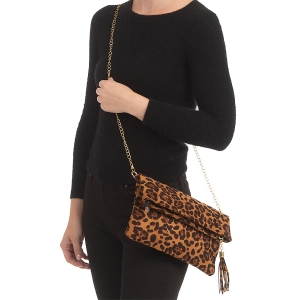 CB0930 Suede Leopard Pattern Clutch/Cross-body Bag