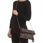 CB0930 Suede Leopard Pattern Clutch/Cross-body Bag, Grey